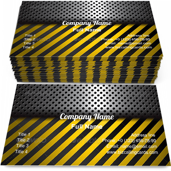 Sample of Metal Warning Stripes business card design for advertisements marketing ideas and promote under construction branding identity