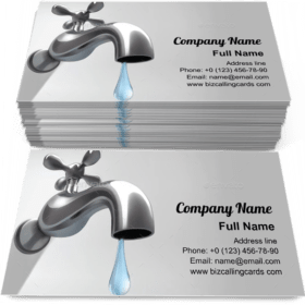 Metallic Water Faucet Business Card Template