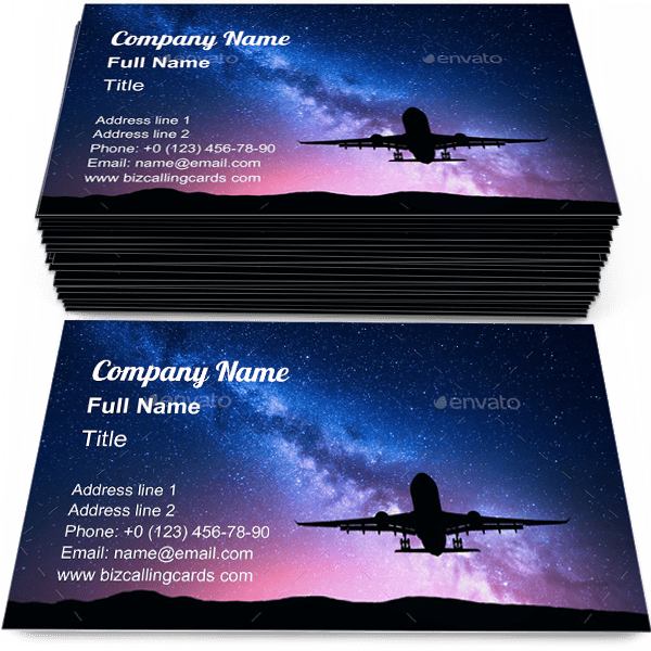 Sample of Milky Way and airplane business card design for advertisements marketing ideas and promote Aircraft branding identity