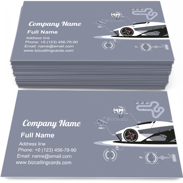 Sample of Modern Car Technology calling card design for advertisements marketing ideas and promote parts of vehicle branding identity