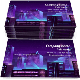 Modern Metropolis Night Buildings Business Card Template