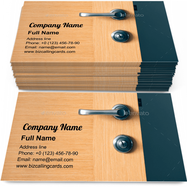 Sample of Modern interior door business card design for advertisements marketing ideas and promote contemporary doorknob branding identity