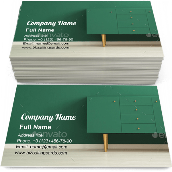 Sample of Modern sideboard in interior business card design for advertisements marketing ideas and promote multifunctional furniture branding identity