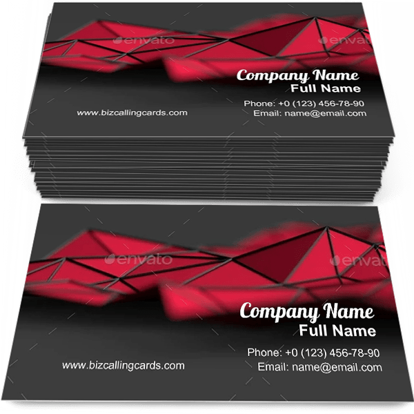 Sample of Modern triangulated surface business card design for advertisements marketing ideas and promote Futuristic branding identity