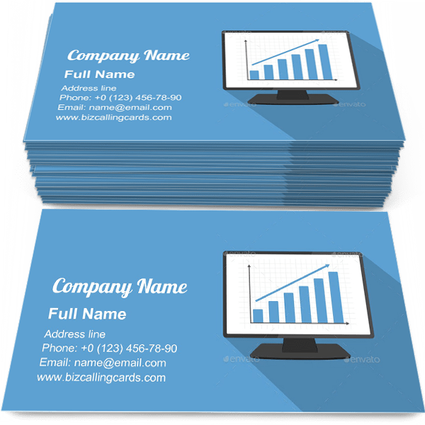 Sample of Monitor with Bar Graph business card design for advertisements marketing ideas and promote financial analytics branding identity