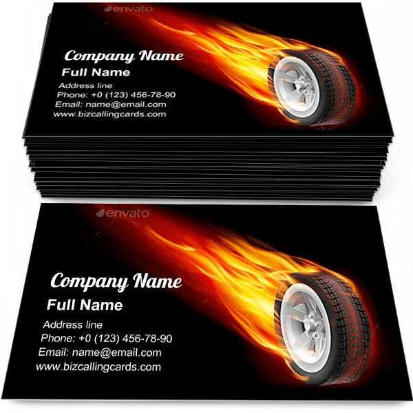 Sample of Motion Fire Wheel business card design for advertisements marketing ideas and promote hot car Wheel branding identity