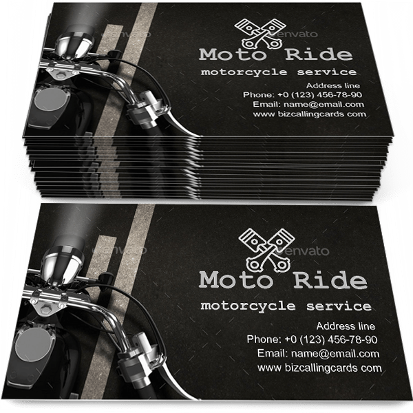 Sample of Motorcycle on the Asphalt calling card design for advertisements marketing ideas and promote motorcycle service branding identity