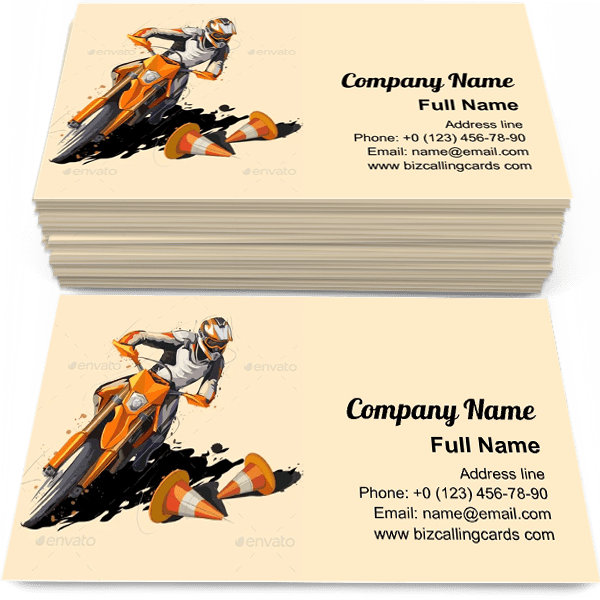 Sample of Motorcycle rider calling card design for advertisements marketing ideas and promote motorbike branding identity