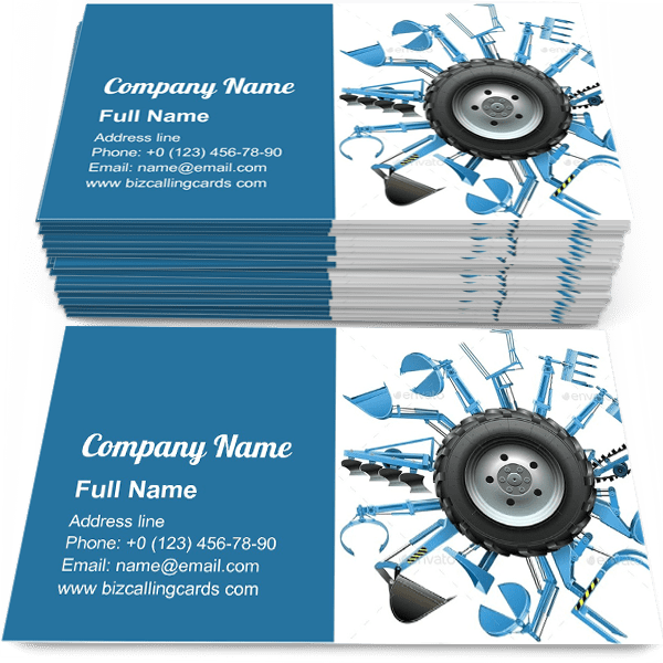 Sample of Multi Tractor Wheel calling card design for advertisements marketing ideas and promote agricultural Equipment branding identity