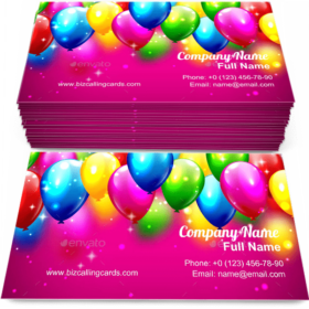 Multicolored Inflatable Balloons Business Card Template