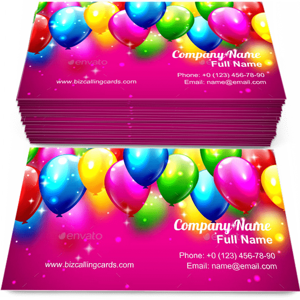 Sample of Multicolored Inflatable Balloons calling card design for advertisements marketing ideas and promote carnival branding identity