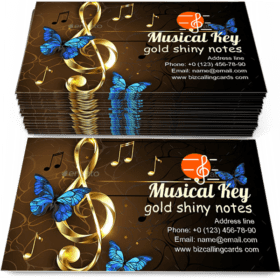 Musical Key with Butterflies Business Card Template