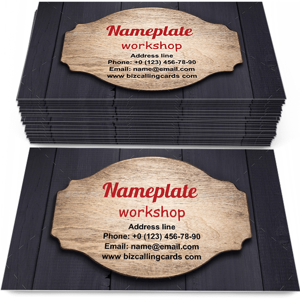 Nameplate at wooden texture Business Card Template