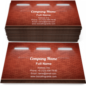 Neon Lamps on Brick Wall Business Card Template