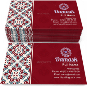Nostalgia Damask cover Business Card Template