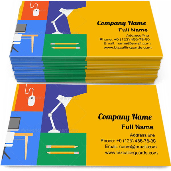 Sample of Office Colorful Objects calling card design for advertisements marketing ideas and promote Flat trendy branding identity
