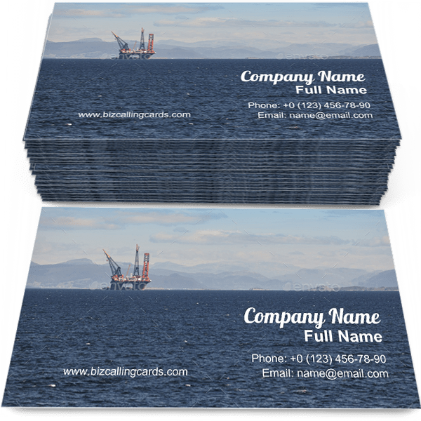 Sample of Oil and gas sea platform business card design for advertisements marketing ideas and promote Energy industry branding identity