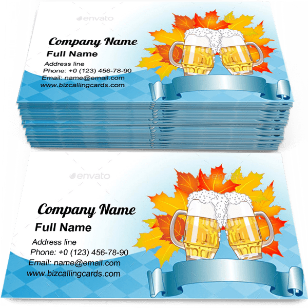 Sample of Oktoberfest Celebration business card design for advertisements marketing ideas and promote beer branding identity