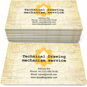 Old Technical Drawing Business Card Template