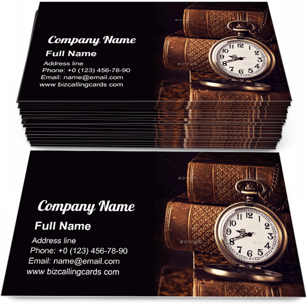 Sample of Old vintage books and a watch business card design for advertisements marketing ideas and promote bibliophile branding identity