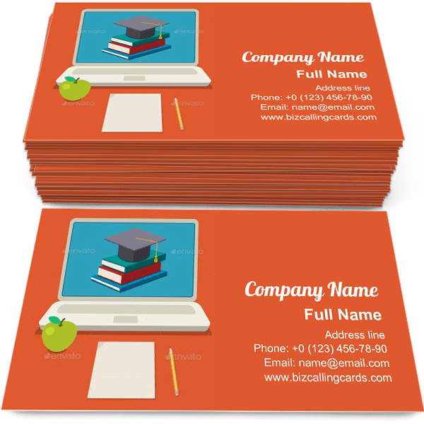 Editable Online Education Business Card Template