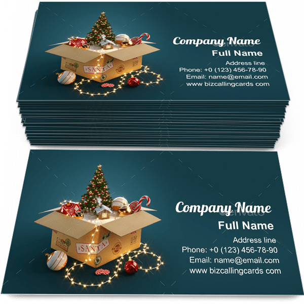 Sample of Opened gift christmas box calling card design for advertisements marketing ideas and promote xmas branding identity