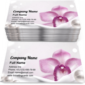 Orchid and White Satin Fabric Business Card Template