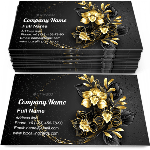 Sample of Orchid with Gold Paint calling card design for advertisements marketing ideas and promote jewelry orchids branding identity