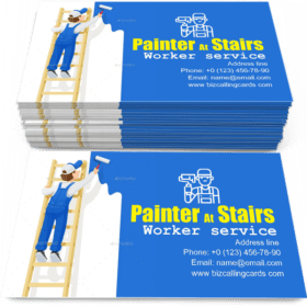Painter at Stairs Paint Wall Business Card Template