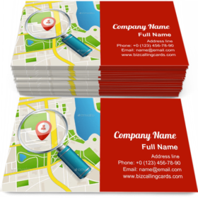 Paper Map Business Card Template