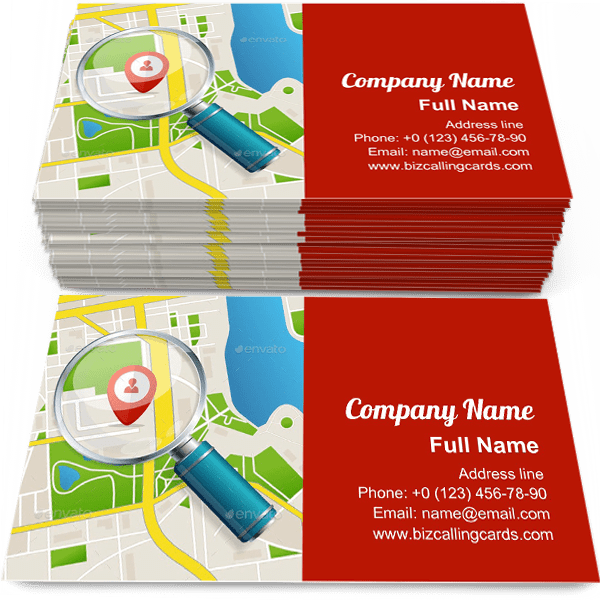 Sample of Paper Map business card design for advertisements marketing ideas and promote navigation branding identity
