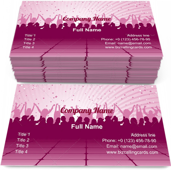 Sample of Party dancing silhouette business card design for advertisements marketing ideas and promote dancing decoration branding identity