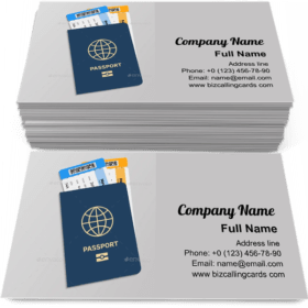 Passport with Boarding Tickets Business Card Template