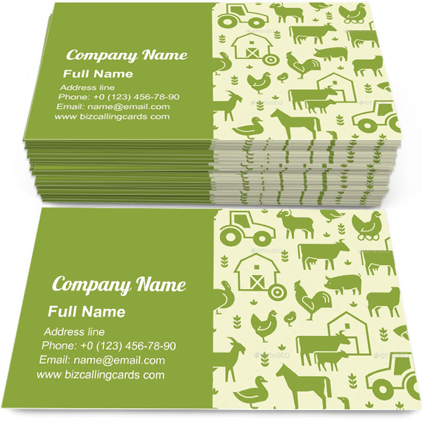 Sample of Pattern of Farm Animals calling card design for advertisements marketing ideas and promote farming trade branding identity