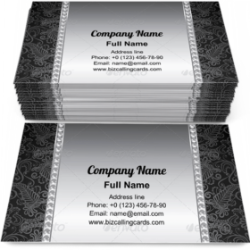 Pearl and Silver Frame Business Card Template