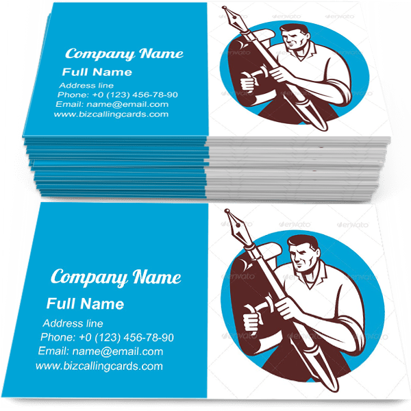 Sample of Pen And Paper Shield calling card design for advertisements marketing ideas and promote journalismbranding identity