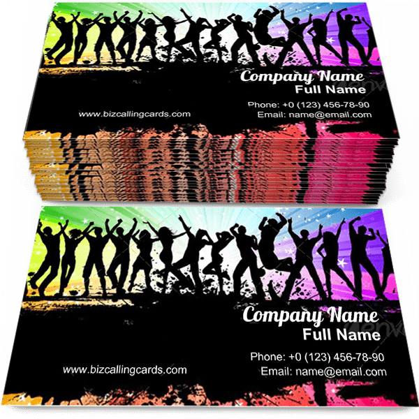 Sample of People grunge dancing business card design for advertisements marketing ideas and promote party branding identity