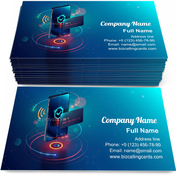 Sample of Phone and Internet Banking calling card design for advertisements marketing ideas and promote digital technology branding identity