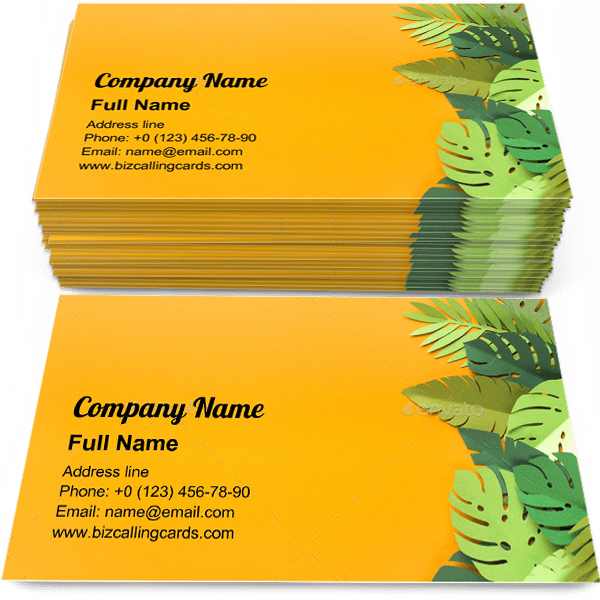 Sample of Piece of jungles business card design for advertisements marketing ideas and promote tropic trendy branding identity