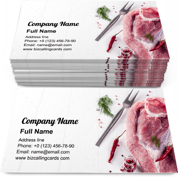 Sample of Piece of fresh pork calling card design for advertisements marketing ideas and promote meat shop branding identity