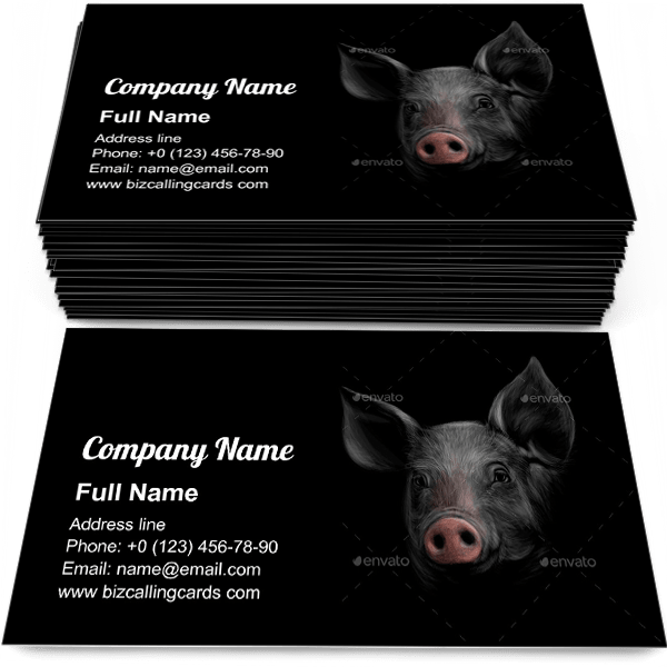 Pig Head on a Black Business Card Template