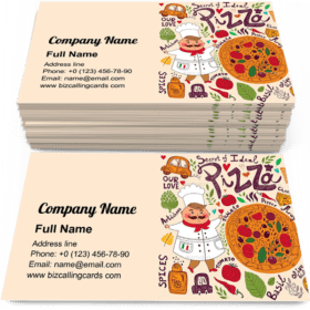 Pizza menu with chef Business Card Template