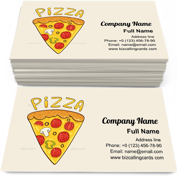 Sample of Pizza slice with cheese calling card design for advertisements marketing ideas and promote pizzeria delivery branding identity