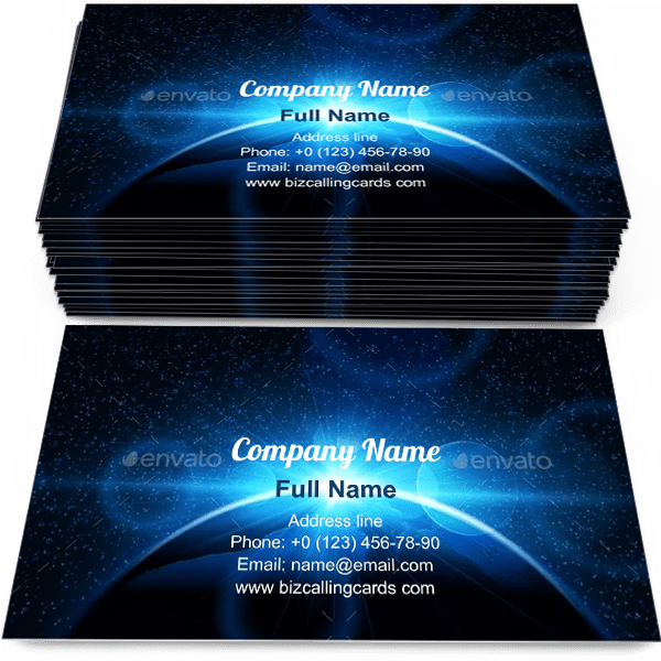 Sample of Planet Earth with Sunrise calling card design for advertisements marketing ideas and promote sunbeams branding identity