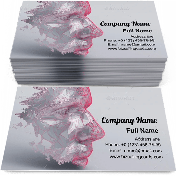 Sample of Polygonal Human Face business card design for advertisements marketing ideas and promote Artificial intelligence branding identity