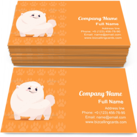 Pomeranian Cartoon Business Card Template