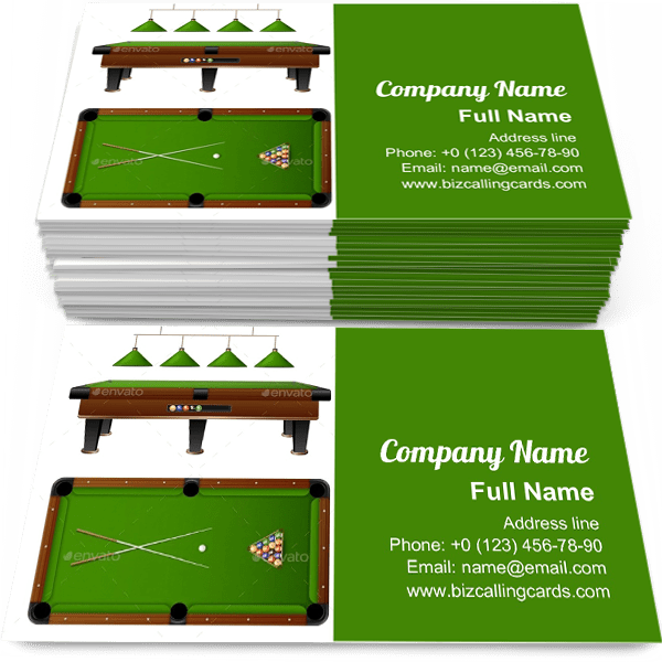 Sample of Pool Billiard Table business card design for advertisements marketing ideas and promote Billiard branding identity