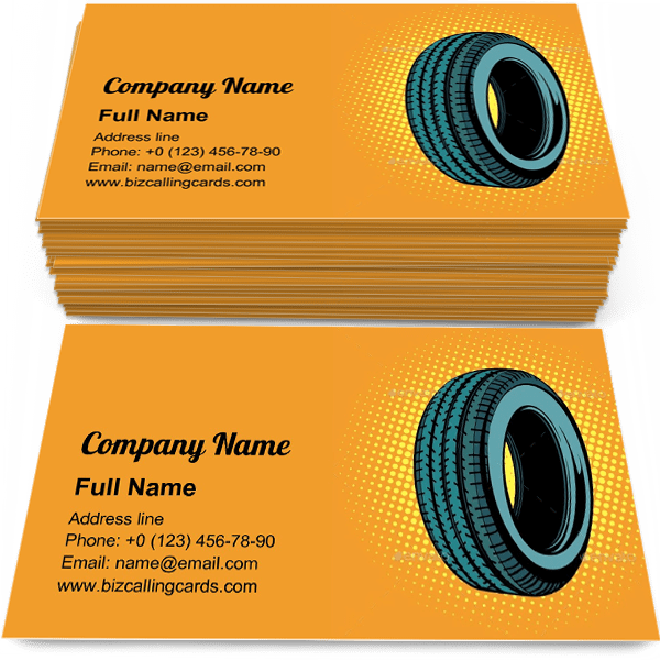 Sample of Pop art car tire one business card design for advertisements marketing ideas and promote vehicle service branding identity
