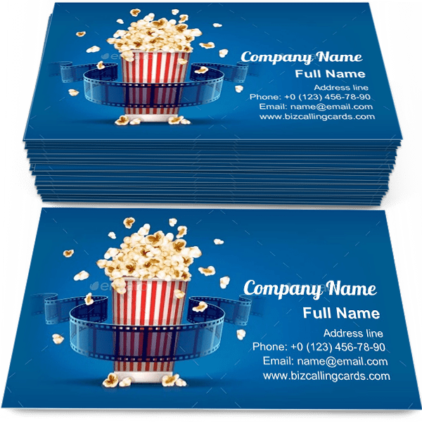 Sample of Popcorn For Cinema calling card design for advertisements marketing ideas and promote cinema branding identity
