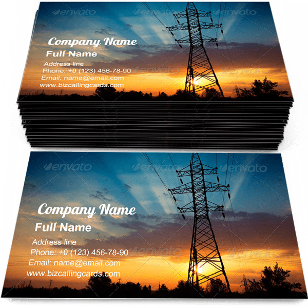 Sample of Power lines on a sunrise business card design for advertisements marketing ideas and promote electrical generation branding identity